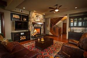 Fireplace next to tv living room traditional with ...