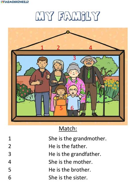 family members  worksheet    interactive