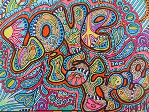 Love is Free Singleton Hippie Art Original Drawing Peace