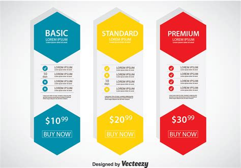 pricing table flat design template vector
