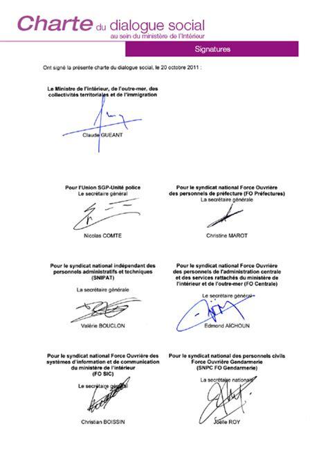 sociale ministere interieur signature de la charte du dialogue social du 20 octobre 2011 au minist 232 re l int 233 rieur