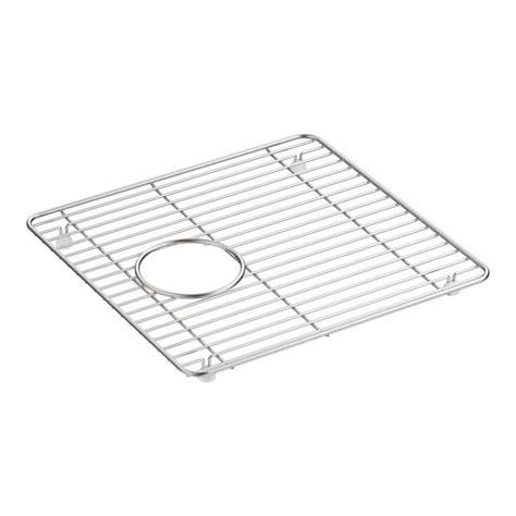 Kohler Sink Grid Stainless Steel by Shop Kohler Cairn 14 In X 13 75 In Sink Grid At Lowes