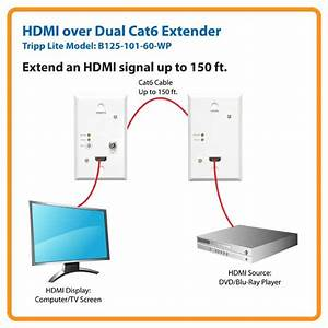 Amazon Com  Tripp Lite Hdmi Over Dual Cat5    Cat6 Extender  Wallplate Transmitter And Receiver