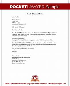 Breach of contract notice letter sample for Free breach of contract letter template