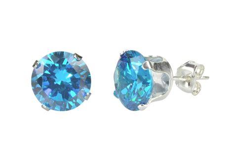 Blue Topaz Cz December Birthstone Earrings Sterling Silver