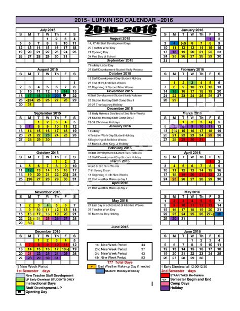 elementary school calendar elementary school calendars lufkin tx