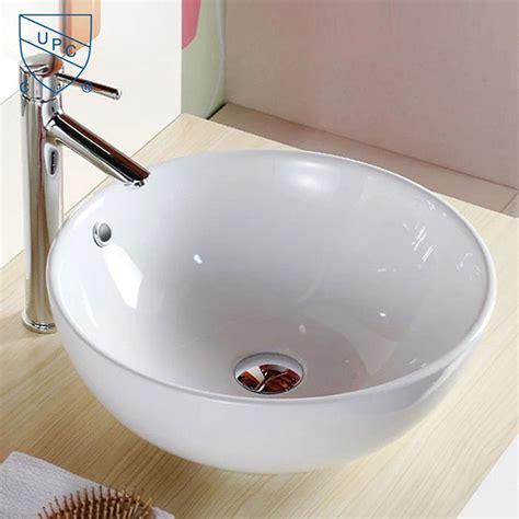 decoraport white ceramic above counter vessel sink
