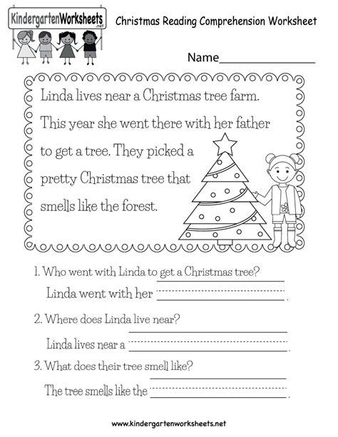 christmas reading worksheet  kindergarten holiday