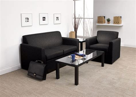 Waiting Room Furniture Including Black Sofa And Glass
