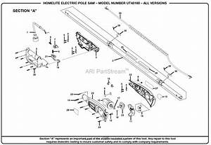 Homelite Electric Pole Saw Ut43160 Parts Diagram For
