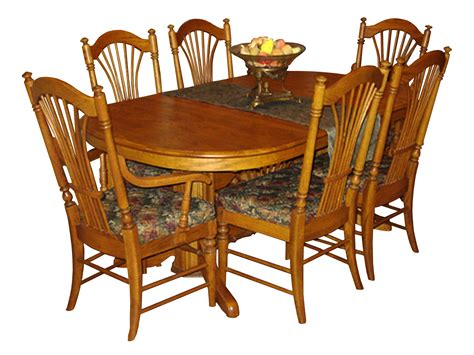 Solid Oak Dining Room Table (with Six Chairs)