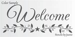 Joanie STENCIL Welcome Easy French Script Country Prim