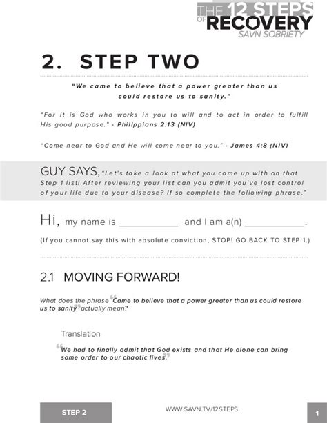 step 2 aa worksheet 12 step worksheets step 1 printables 12 steps of aa