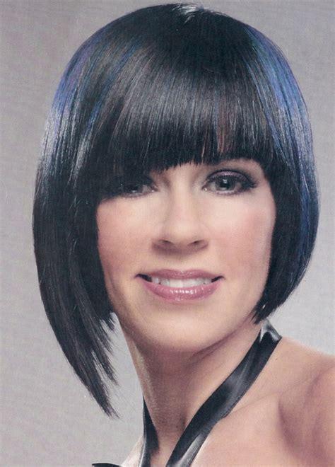 mature women cool hairstyle  medium asymmetrical bob photo