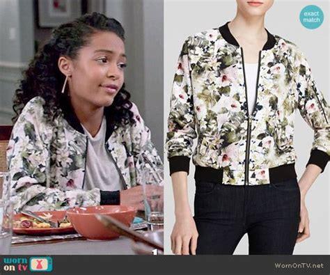 Zoey's floral bomber jacket on Black-ish   Floral bomber ...