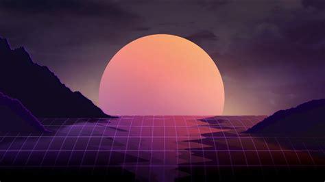 wallpaper sunset neon retrowave hd creative graphics