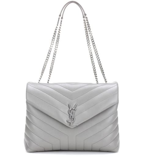 saint laurent loulou medium quilted leather shoulder bag  gray lyst