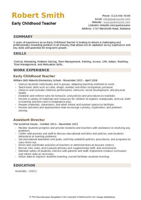 Early Childhood Education Resume Sles by Early Childhood Resume Sles Qwikresume