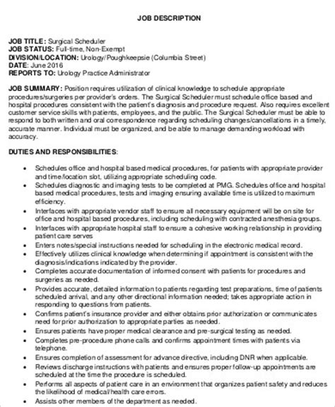 surgery scheduler job description samples  ms