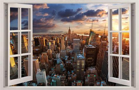 3d effect window wall stickers city new york sticker vinyl decal decor mural 31 ebay