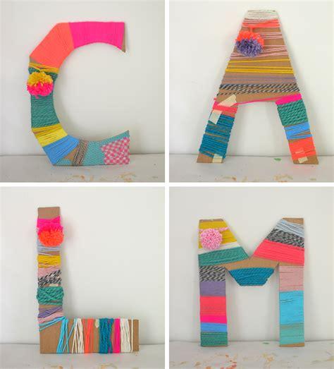 kid craft ideas yarn wrapped cardboard letters artbar 4795