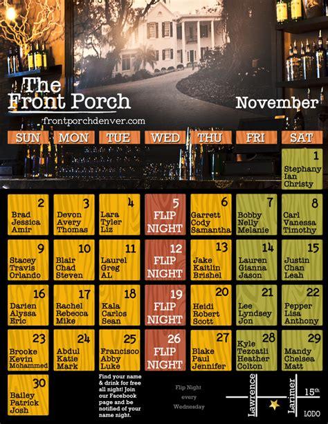 Front Porch Calendar by November Name Calendar At The Front Porch Front