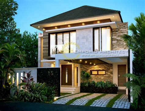 desain rumah  lantai style modern tropis jasa arsitek