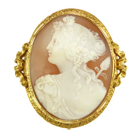 Antique French 18k Gold Hand Carved Shell Cameo Brooch