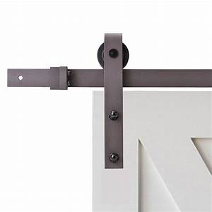 calhome 96 in antique bronze classic bent strap barn With 96 in barn door hardware