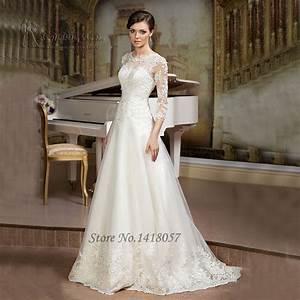 aliexpresscom buy gelinlik ivory a line wedding dress With a line wedding dresses with sleeves