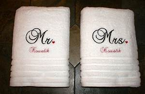 Bath towels i embroidered for wedding gift great gift for Embroidered towels for wedding gift