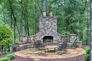 Rustic Outdoor Patio Fireplace Home Design Examples