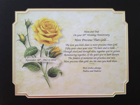 50th Anniversary Gift Idea Personalized Poem By