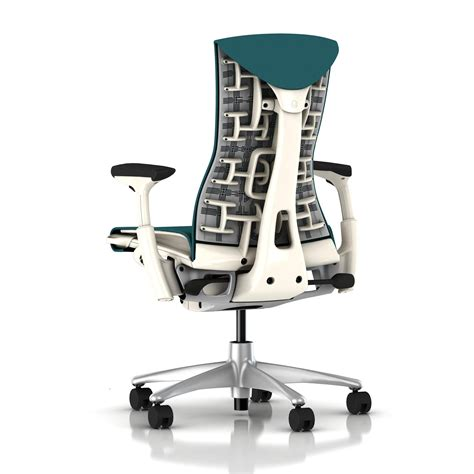 herman miller embody chair peacock rhythm with white frame