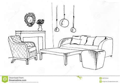 dining room clipart black and white graphical sketch of an interior living room stock