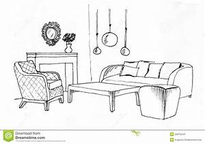 Graphical Sketch Of An Interior Living Room Stock ...