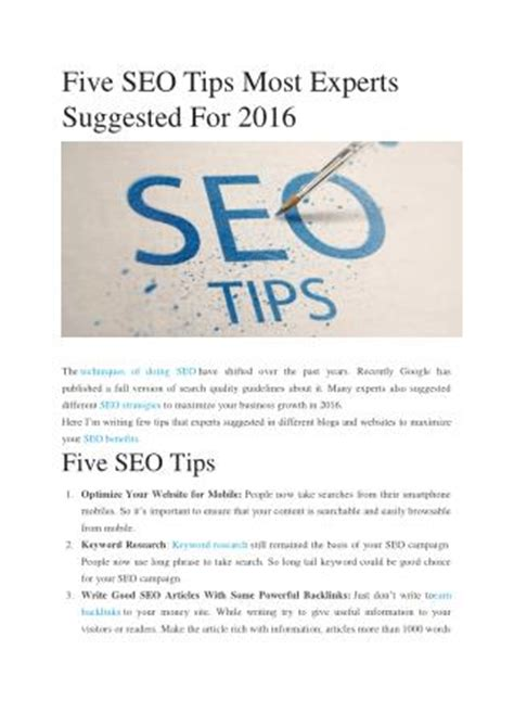 seo guide 2016 ppt 6 best seo tips for 2016 powerpoint presentation
