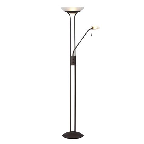 bronze torchiere floor l with reading light shop galaxy 70 875 in matte bronze torchiere with reading