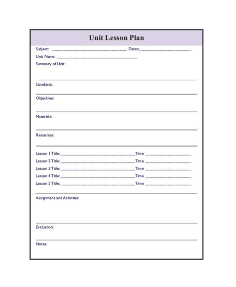 printable lesson plan   word  documents