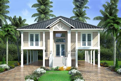 bed country stilt house  covered lanai bw architectural designs house plans