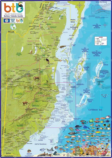 Belize Maps, Ambergris Caye, San Pedro, Caribbean and ...