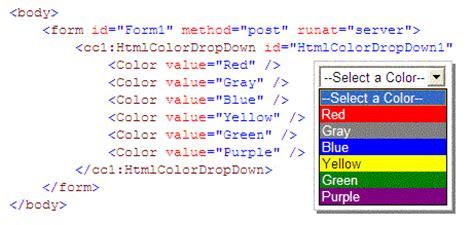 html color tags asp net color dropdown codeproject