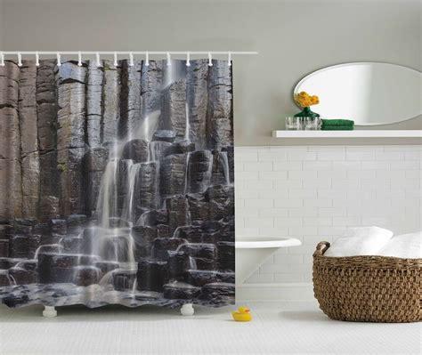waterfall photographic fabric shower curtain rocks stones