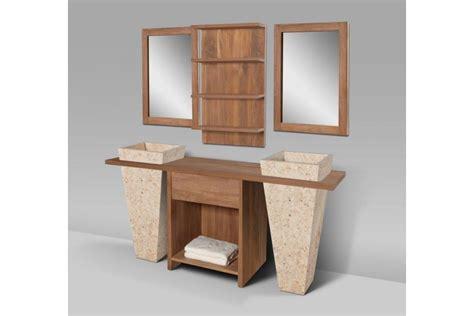 creer meuble salle de bain meuble de salle de bain teck massif recycl 233 1 tiroir avec 2 vasques sur pied loungea la