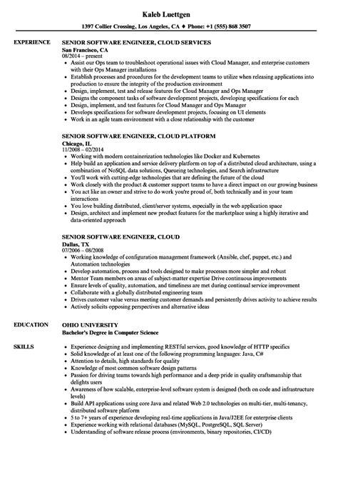 Software Engineer Cloud Resume Samples | Velvet Jobs