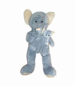 Peluche Geante Elephant : xxl peluche g ante elephant gris et son b b max et sax 1 m 100 cm ~ Teatrodelosmanantiales.com Idées de Décoration