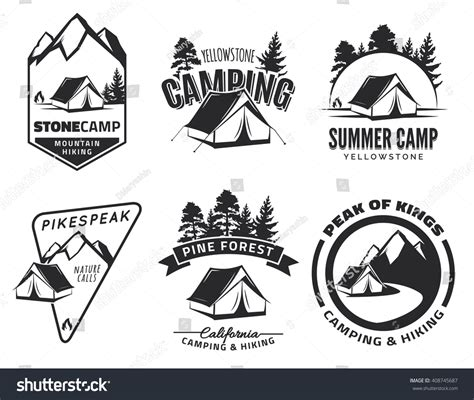 Set Vintage Camping Outdoor Adventure Emblems Stock Vector