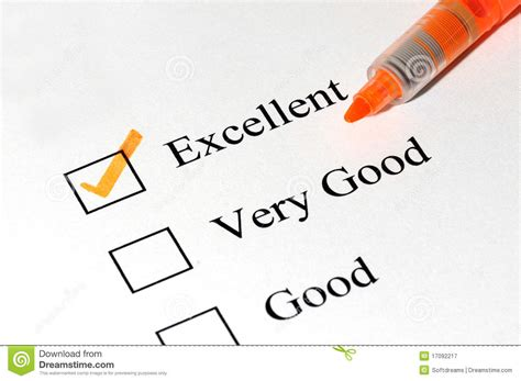 Excellent Very Good Checkboxes Royalty Free Stock