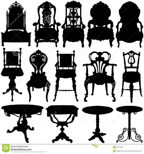regency sofa antique chair and table vector stock photography image