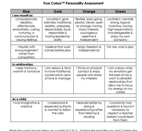 true colors personality test printable true colors personality test psychology true